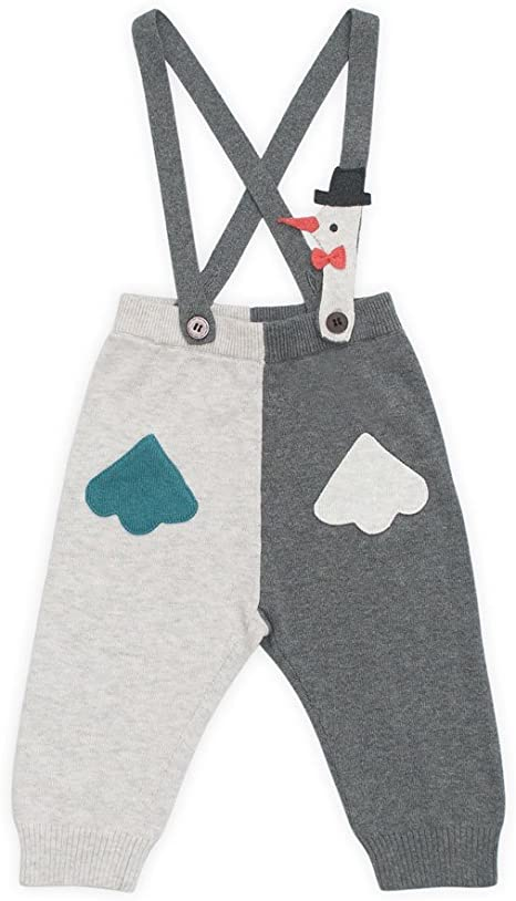 bebobio – Pantalón Bebé arlequín con tirantes en algodón – talla: 12 Meses (80 cm): Amazon.es: Bebé