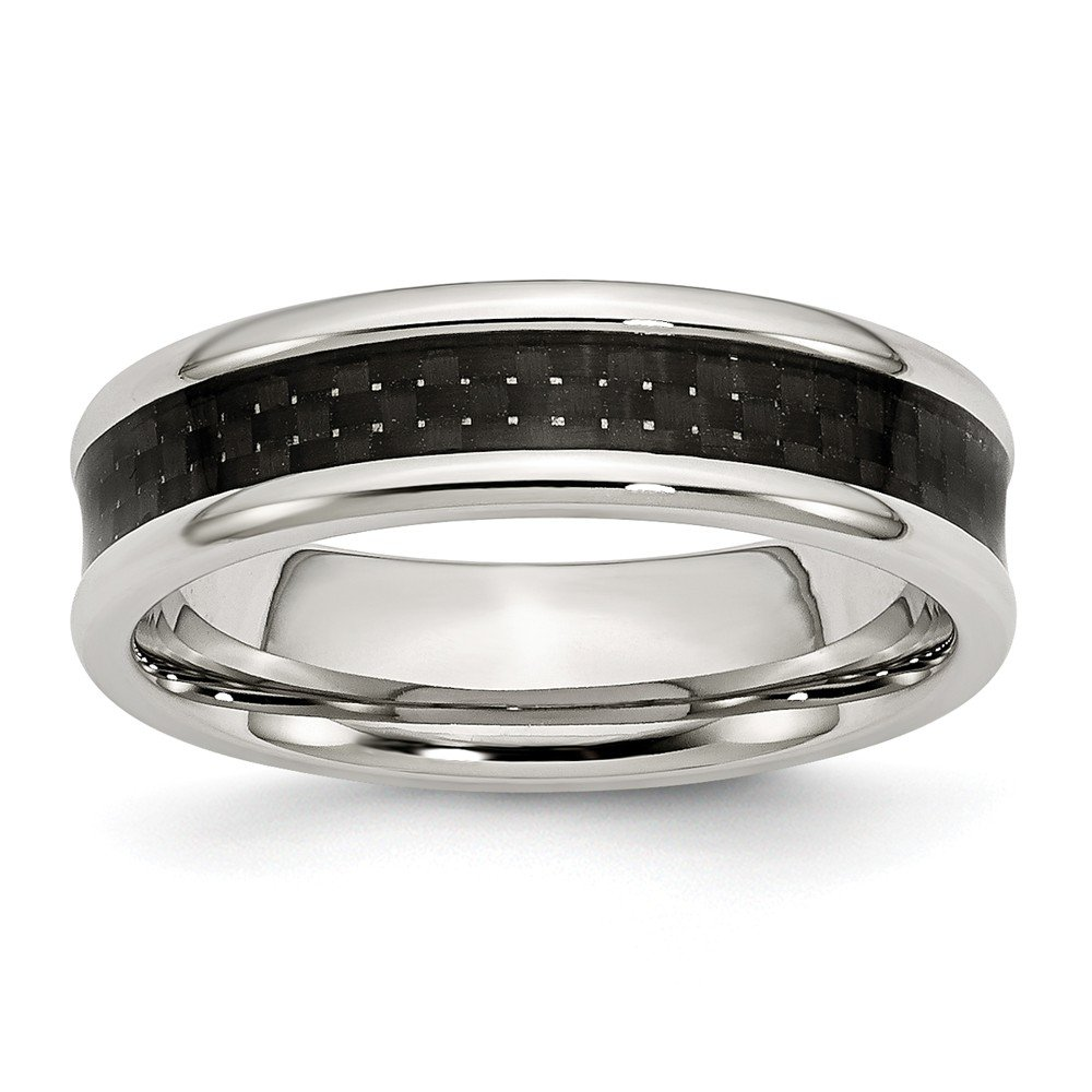 Stainless Steel Polished Black Carbon Fiber Inlay 6mm Wedding Band Size 7.5