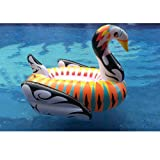 190*190*130CM Inflatable Colorful Swan, Durable, Colorful, Fun, Vibrant, Swimming Pool Float Lounger Set(Colorful Swan)