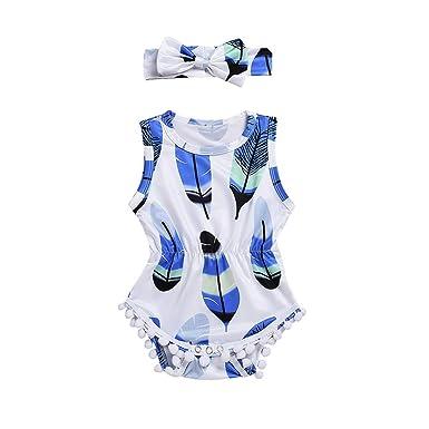 80679f1e91d 2PCS Set Infant Kids Baby Girls Sleeveless 100% Cotton Romper Feather  Jumpsuit+Headband