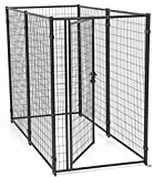 Dog Kennel Gray- Lucky Dog Modular Box Kennel - This Welded Animal Enclosure is Perfect for Small to Large Dogs and Animals and is Designed with Their Safety and Comfort In Mind. Dimensions (6'H x 8'L x 4'W); 103 lbs