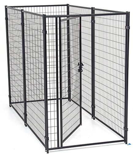 Dog Kennel Gray- Lucky Dog Modular Box Kennel - This Welded Animal Enclosure is Perfect for Small to Large Dogs and Animals and is Designed with Their Safety and Comfort In (Modular Kennel Gate)