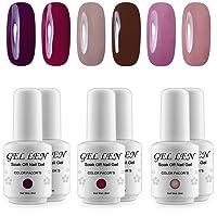 UV LED Gel Nail Polish - Gellen Pack of 6 Colors, Soak Off Gel Polish Starter Kit #01