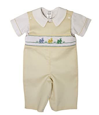 77e30c847829 Amazon.com: Carouselwear Boys Easter Yellow Longall with Smocked Easter  Bunnies: Clothing