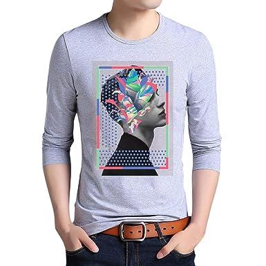 d302d84c8ef6c Cebbay T-Shirt Homme Humour Nouveau imprimé Manche Longue Culture de la Mode  Chemises Polo