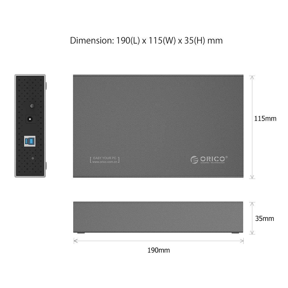 Space Grey ORICO 3.5 Inch Aluminium USB 3.0 External SATA III Hard Drive Enclosure with UASP for 2.5//3.5 HDD SSD,Auto Sleep,12V 2A Power Adapter