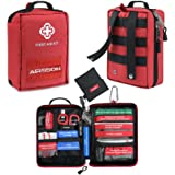 AIRSSON First Aid Kit Bag Molle Emergency Compact Pouch -Includes Shears, Bandages, CPR Kit Set and Extra Patch and a Carabiner for Home School Office Car Caravan or Travel