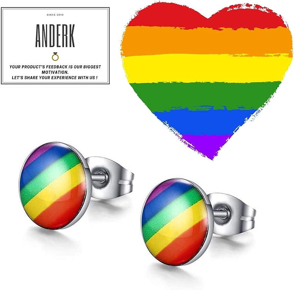 ANDERK 4 Pi/èces Rainbow Earring Arc-En-Boucle Doreille Gay Pride Charme En Acier Inoxydable Goujons Pour hommes Femmes Mode Bijoux Cadeau