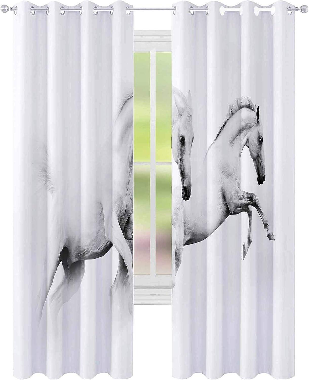 YUAZHOQI Cortina opaca con dos poderosos caballos blancos como la nieve que saltan sobre un fondo blanco de 132 x 241 cm, cortinas opacas para sala de estar