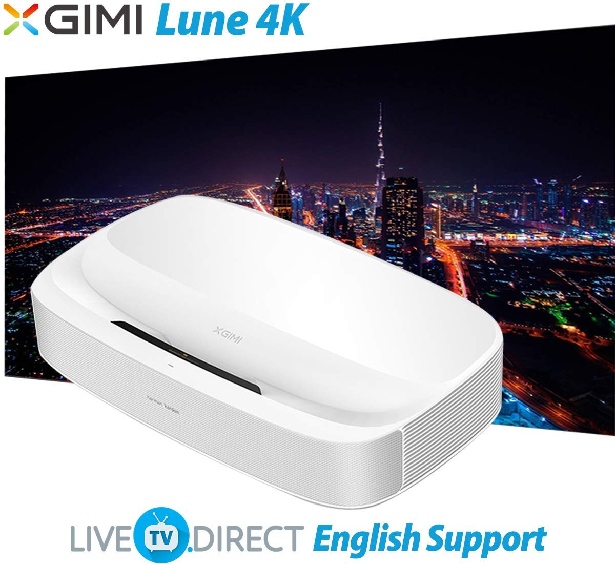 4Kプロジェクター XGIMI Lune4K 元の4K UHD スーパーショートフォーカス Android 3D スマートTV ホームシアタープロジェクター 内蔵60W Harman/Kardon高忠実度HiFi音声 B07MYMK8F3