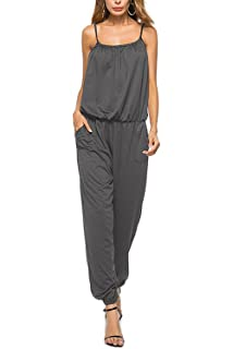 MAXIMGR Womens Spaghetti Strap Sleeveless Jumpsuit Romper Summer Drawstring Waisted Jogging Playsuit Rompers