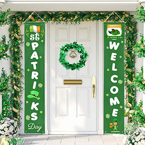 Whaline St. Patrick's Day Porch Sign, Shamrock Welcome Hanging Sign St. Patrick Decoration for Home Outdoor Indoor Party Favor Ornament]()