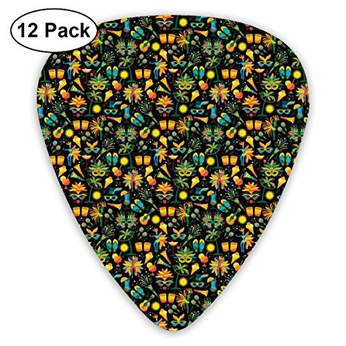 (Celluloid Guitar Picks - 12 Pack,Abstract Art Colorful Designs,Funky Face Masks Cocktails Costumes Food And Maracas Brazil Life Elements,For Bass Electric & Acoustic Guitars.)