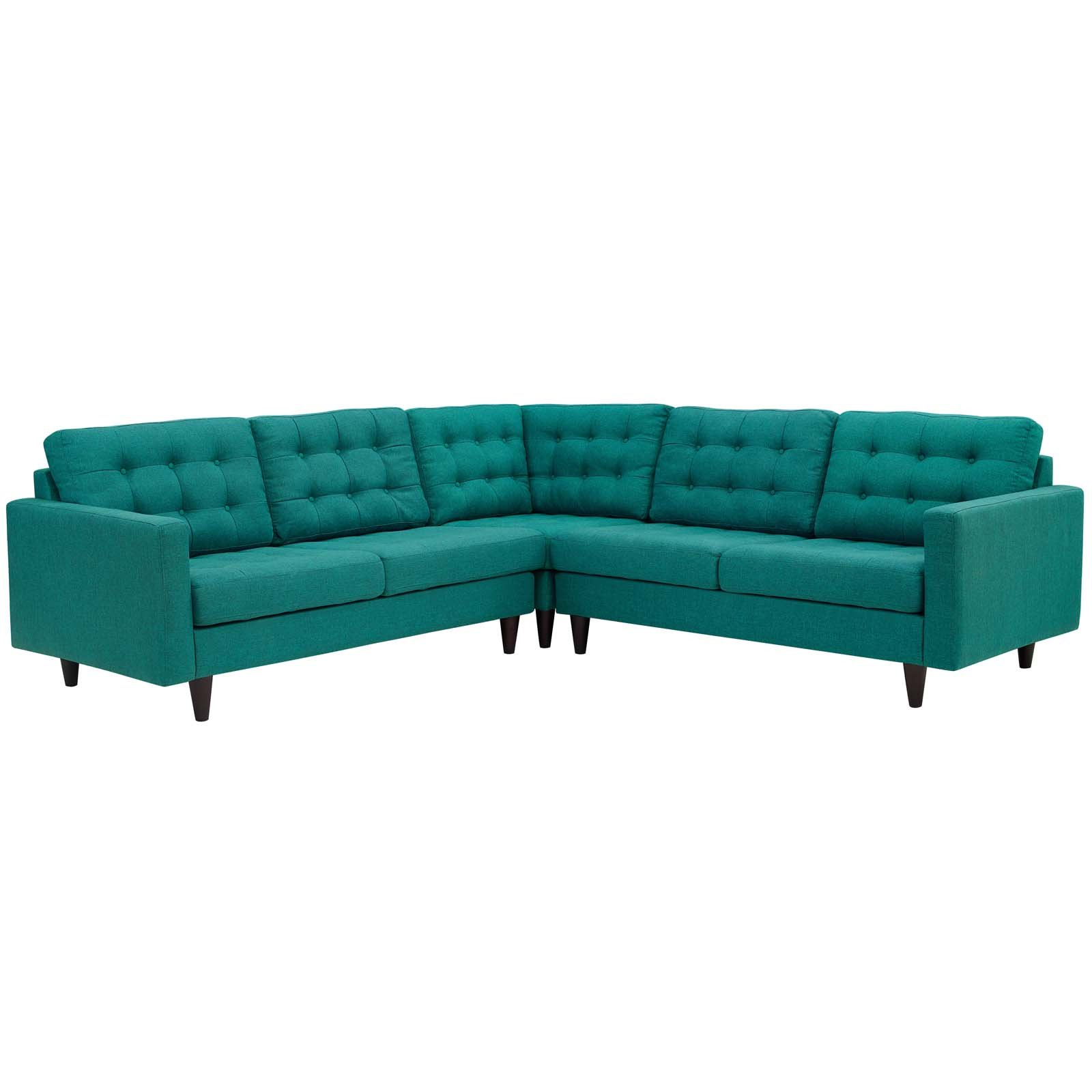 Modway Empress Mid-Century Modern Upholstered Fabric Sectional Sofa Set In Teal by Modway
