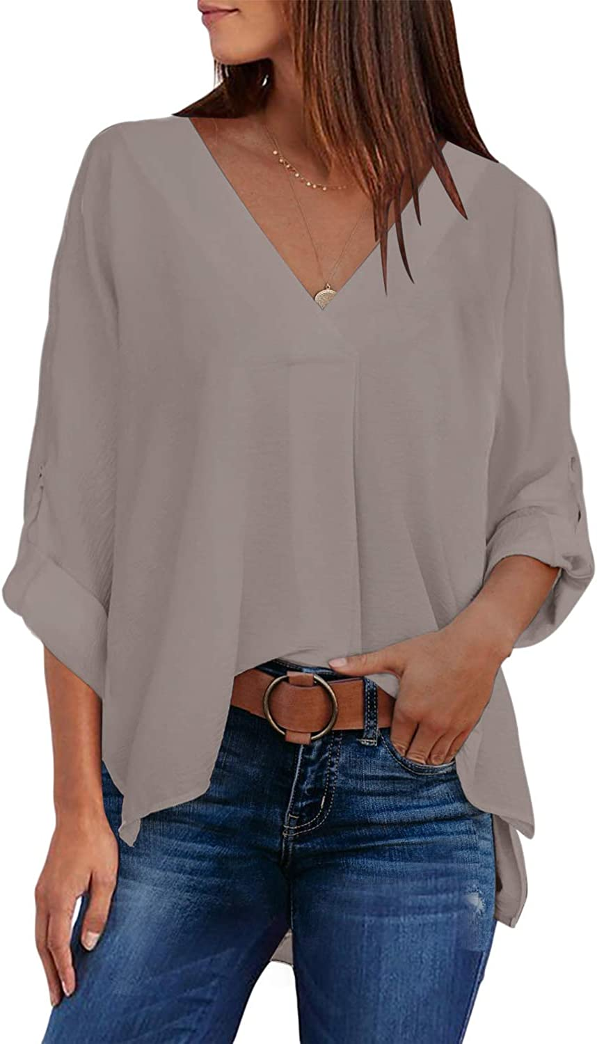 Happy Sailed Women's Casual V Neck 3/4 Cuffed Sleeves Shirt Loose Flowy Chiffon Blouses Tops S-2XL