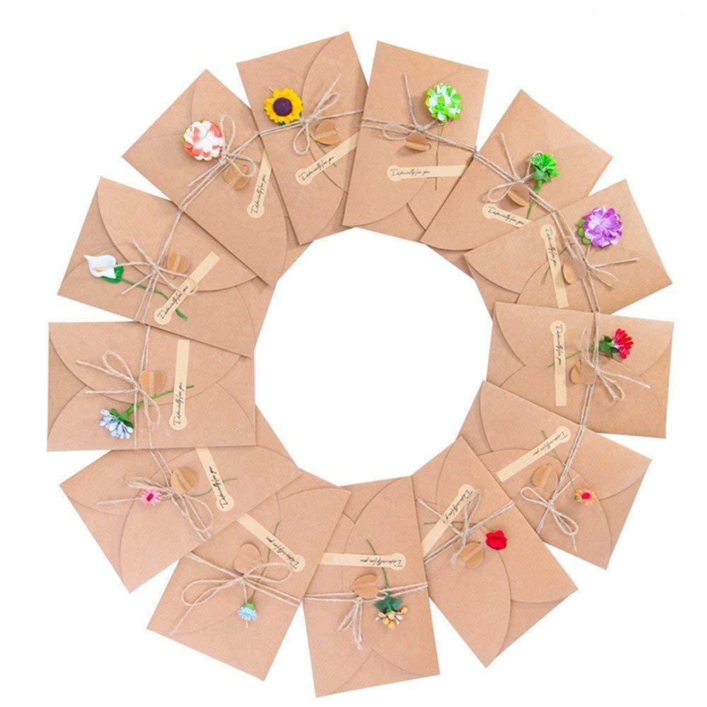 ZARRS Biglietto di Auguri Buste, 13 Pack Cartoncini Augurali Fatti a Mano retrò Kraft Carta Vuote Cartone per Anniversario Matrimonio Compleanno Natale Inviti Lettera