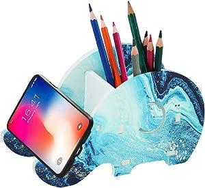 Hennaja Desk Supplies Organizer, Creative Elephant Pencil Holder With Phone Holder Desk Organizer Desktop Pen Pencil Mobile Phone Bracket Stand Storage Box Organizer(1 Pack,1-Blue Quicksand)
