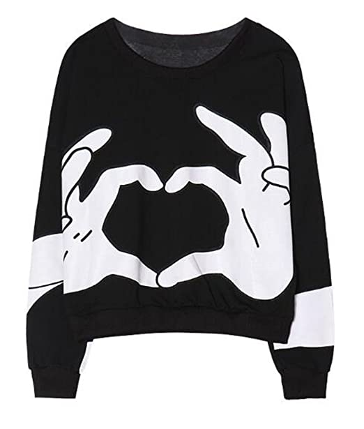 BESTHOO Sudadera Manga Larga Mujer Camiseta Deportivo Universidad Sudadera Casual Cuello Redondo Jersey Impresión Amor Pullover Personalizadas Guays: ...