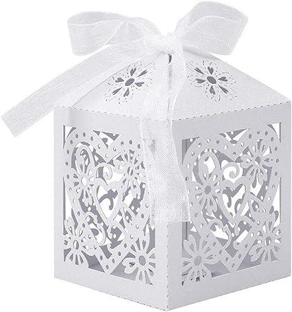 UNHO Caja de Dulces para Boda Blanca Cajas de Caramelos de Papel Cajas para Regalos de Invitados con Cintas para Fiestas Bodas Cumpleaños y Bautizos 25 Piezas: Amazon.es: Hogar