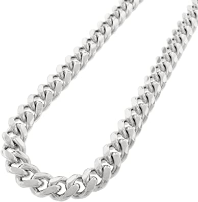 SOLID 925 STERLING SILVER CUBAN 14K WHITE GOLD RHODIUM FINISH CHAIN 7 7MM WIDE