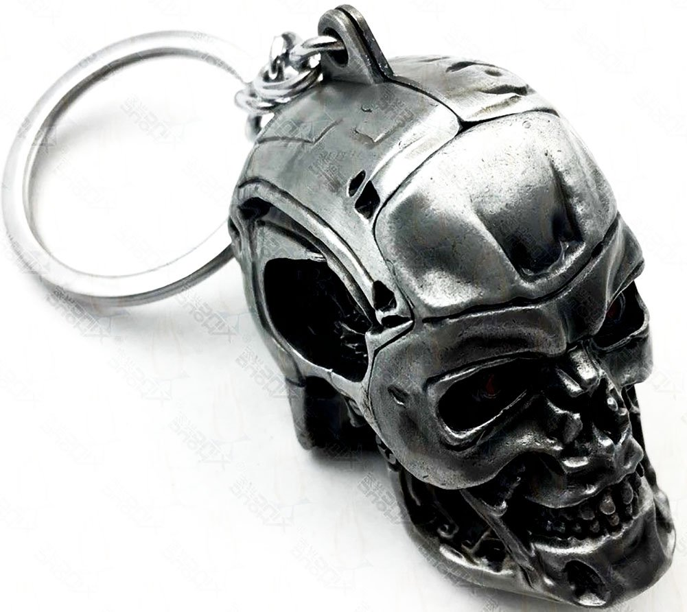 "mySimple Products Unique & Custom 1 Single Medium Size ""Split"" Circle Keychain Ring Made of Chrome w/Edgy Creepy Metallic Robotic Biker Skull Style ..."