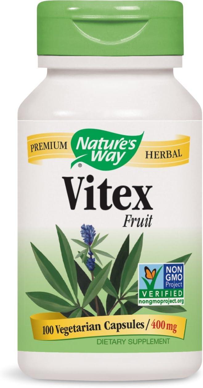 Nature's Way Vitex Fruit 400 milligrams, 100 Vegetarian Capsules. Pack of 7 Bottles