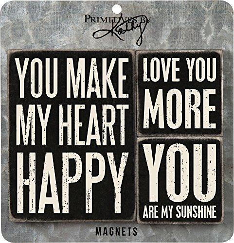 Primitives by Kathy 27498 Distressed Black and White Magnet Set, Heart Happy