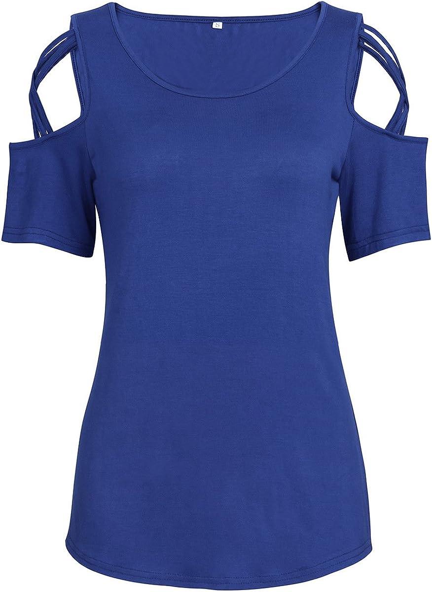 Camiseta de Manga Corta de Color Liso para Mujer.Camiseta de Manga Corta con Hombros Descubiertos Hembra Azul XXL: Amazon.es: Ropa y accesorios