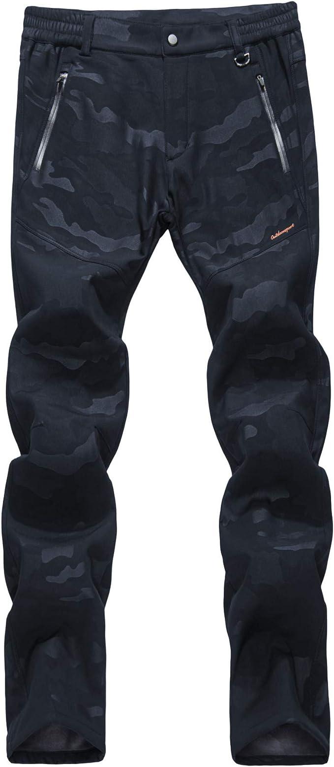 LY4U Womens Hiking Ski Trousers Softshell Fleece Lined Ladies Walking Trousers Winter Outdoor Windproof Water Resistant Snow Pants