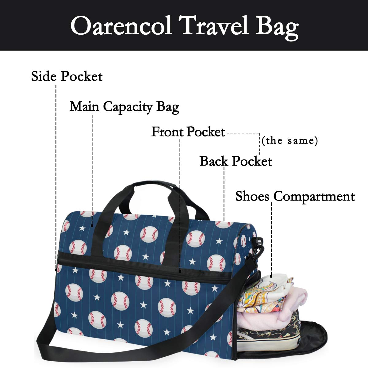 Oarencol Baseball Star Blue Stripe Sport Travel Duffel Bag Overnight Weekender Bag with Shoes Compartment for Men Women