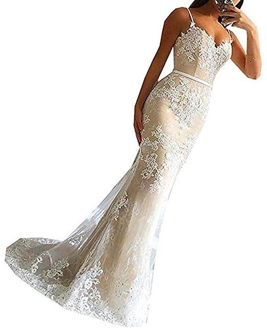 Special Bridal V-Ausschnitt Spitze Meerjungfrau Abendkleider Sweep Zug Trompete Ärmel 2019 Partykleid