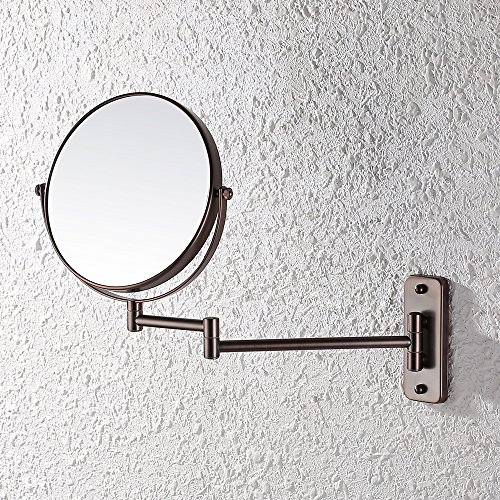 KES Bathroom 10x Magnification Two-Sided Swivel Wall Mount Mirror 8-Inch, Oil Rubbed Bronze Finish, BWM100M10-7 (Mirrors Bronze Oil Bathroom Rubbed)