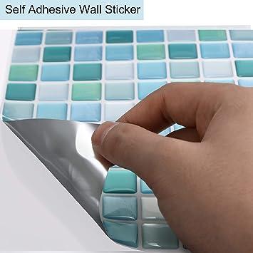 Shingone PET. per cucina 4 adesivi per piastrelle a mosaico 3D 4 pezzi bianco autoadesivi 23.6 x 23.6cm
