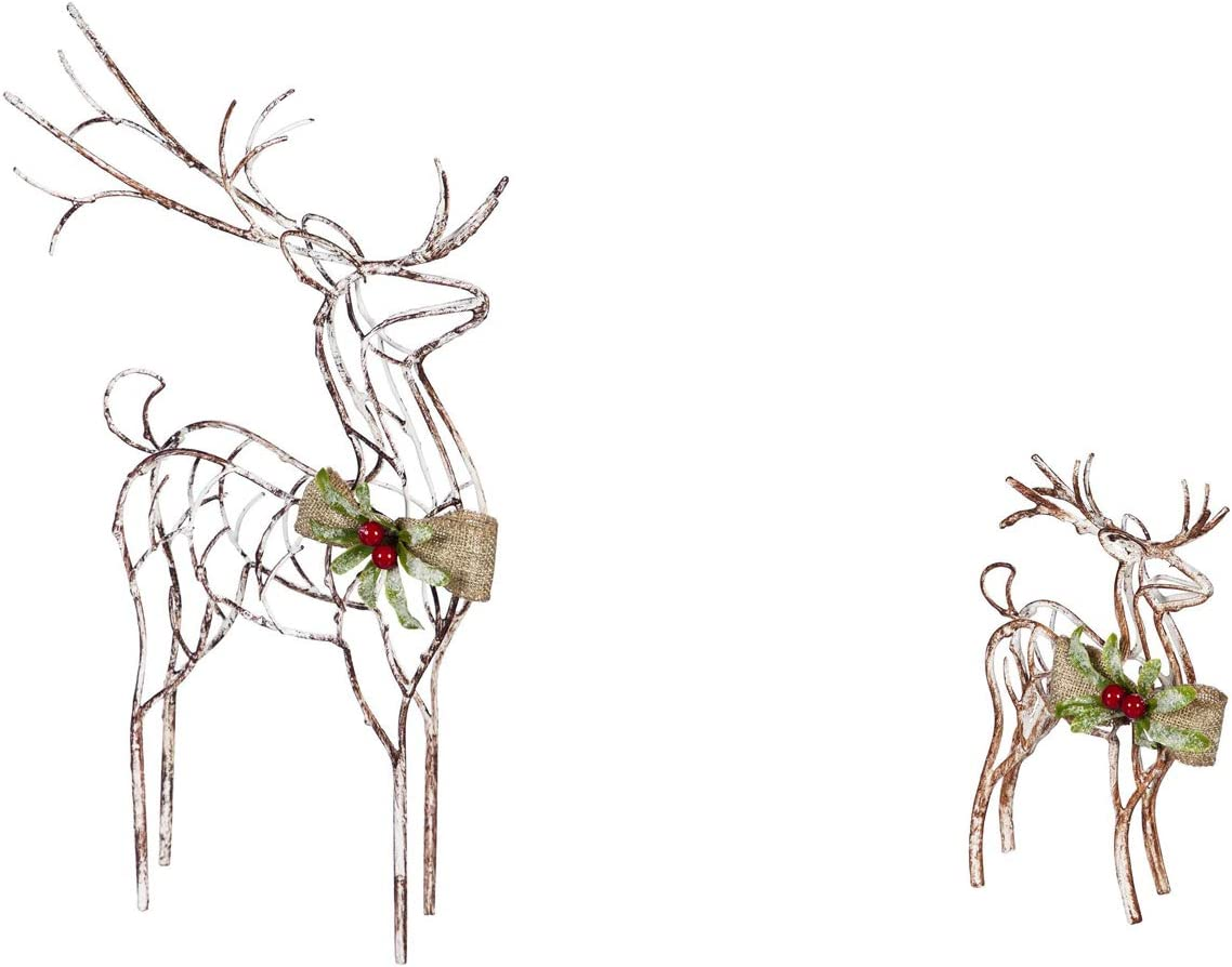 Cypress Home Beautiful Christmas Metal Reindeer Table Top Décor, Set of 2-8 x 2 x 14 Inches Indoor/Outdoor Decoration for Homes, Yards and Gardens
