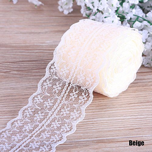 (Niome Cotton Lace Ribbon Trim Bridal Wedding Scalloped Edge Crochet Lace DIY Sewing Accessory Collection Beige)