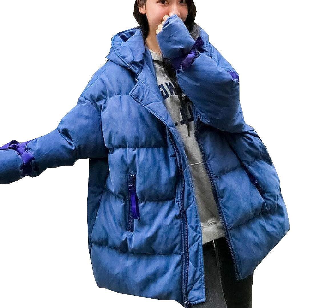 bluee Esast Womens LongSleeve Down Bread Hooded Puffer Warm Coats