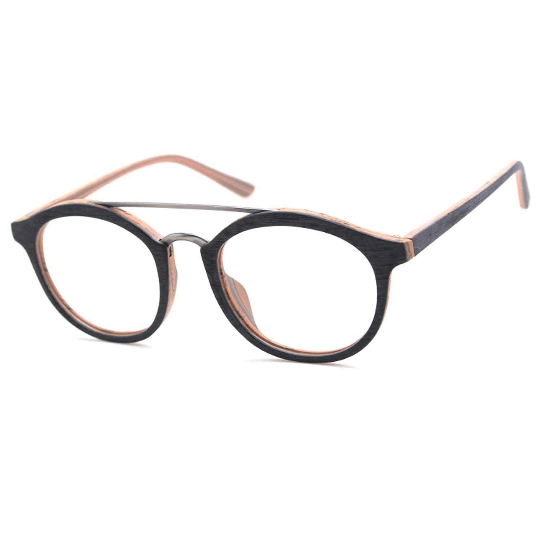 TIJN Unisex Classic Geek Nerd Wood Grain Round Horn Eyeglasses Eyewear