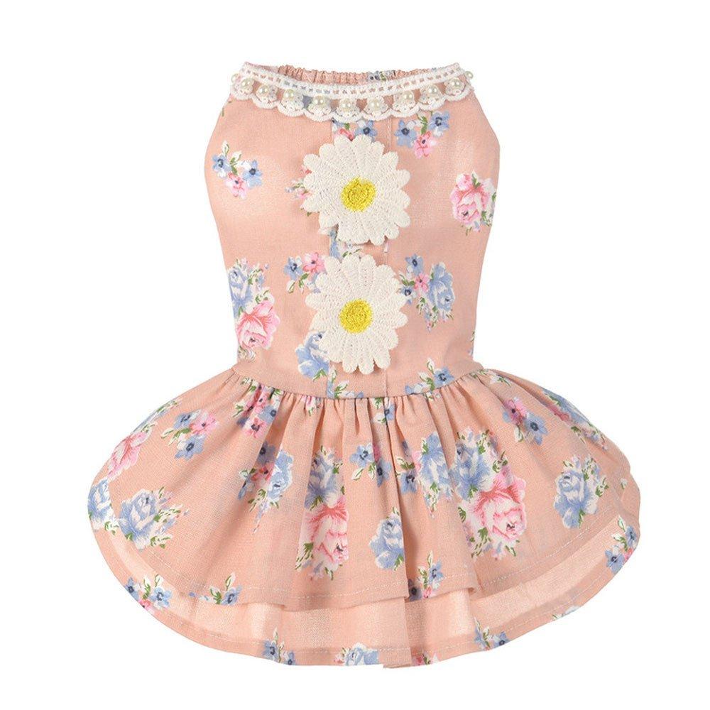 Hawkimin Robe d/ét/é Printemps Mignonne Tournesol en Coton Jupe pour Chien Costume de Princesse