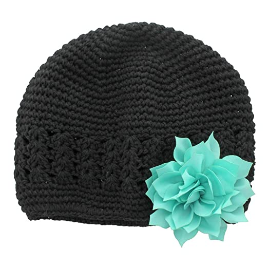My Lello Infant Baby Girl s Crochet Beanie Hat with Flower Black Aqua 13ba7fa9c27