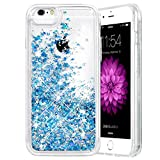 iPhone 6/6S/7/8 Case, Caka iPhone 6S Glitter Case [with Tempered Glass Screen Protector] Bling Flowing Floating Luxury Glitter Sparkle Soft TPU Liquid Case for iPhone 6/6S/7/8 (4.7') - (Blue)