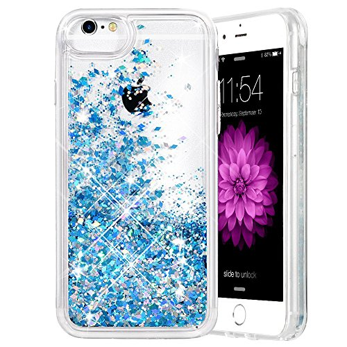 (iPhone 6/6S/7/8 Case, Caka iPhone 6S Glitter Case [with Tempered Glass Screen Protector] Bling Flowing Floating Luxury Glitter Sparkle Soft TPU Liquid Case for iPhone 6/6S/7/8 (4.7