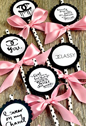 Cupcake Toppers, Dessert Toppers, Straws, Set Of 6, Bridal Shower, Sweet Sixteen Party, (Chanel Cupcakes)