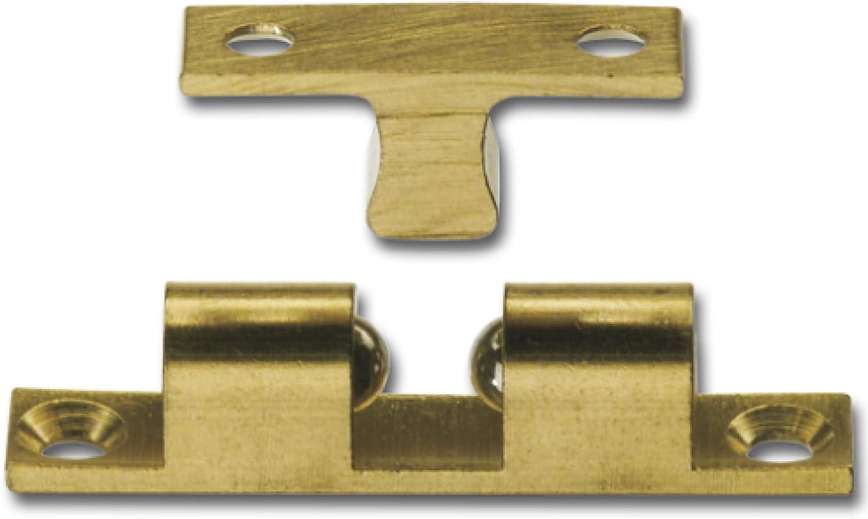 1x Doppelkugelschnäpper 49 x 11 mm Messing blank Kugelschnäpper Schnäpper