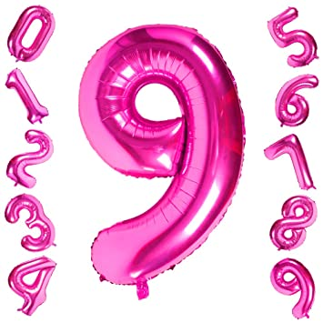 Amazon.com: Globos de color rosa con números de 0 a 9 ...
