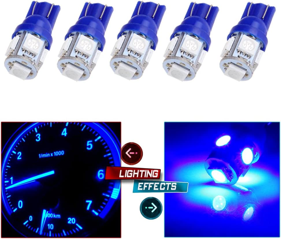 cciyu 194 Extremely Bright LED Bulbs Interior Lights T10-5-5050-SMD Dashboard Gauge Light Speedometer Odometer Tachometer LED light Instrument Panel Light Wedge T10 168 2825 W5W Blue Pack of 5
