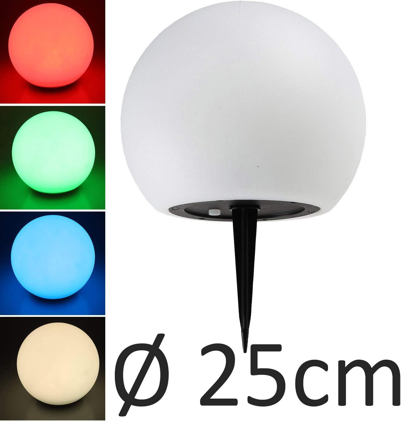 LED RGB carcasa de pl/ástico blanca luz blanca c/álida sensor crepuscular 7 colores ajustables L/ámpara solar esf/érica de 25 cm IP44 con estaca resistente a la intemperie