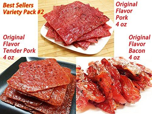 Variety Pack #2 Pork Jerky (Original Flavor - 12oz Ounce weight) - Original Flavor Pork (4 oz), Tender Pork (4 oz), Original Bacon (4 oz) (Best Thai Food In Usa)