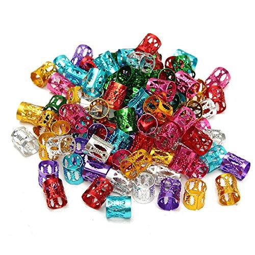 100pcs Mixed Color Mini 8mm Hair Dreadlock Adjustable DIY Braiding Hair Cuffs Clip Dread Lock Beads Braid Hair Tubes Decorations