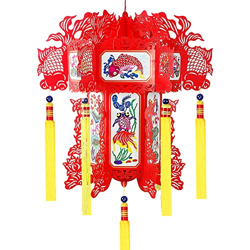 Chinese paper lanterns,40cm,fish and lotus images,used for home decoration,festival and party supplies,gift. (40cm)