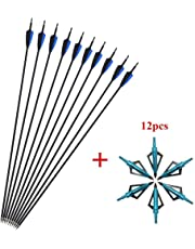 SHARROW 12x Carbonpfeile 30.5 Zoll Bogenpfeile Jagd Pfeile für Bogen Spine 500 für Recurvebogen Compound Bogen